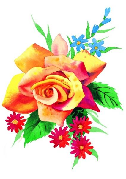 鲜艳彩绘玫瑰花图片